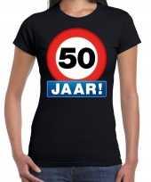 Stopbord 50 jaar sarah verjaardag t shirt zwart voor dames